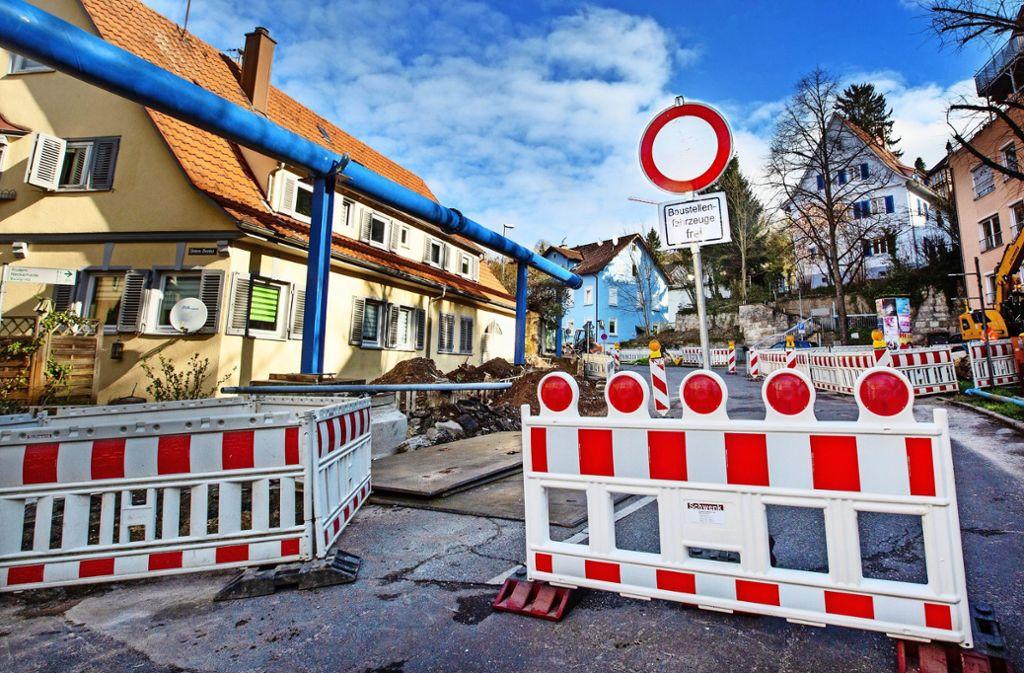 Die Geiselbachstraße ist seit Montagmorgen komplett gesperrt. Foto: Ines Rudel/Ines Rudel