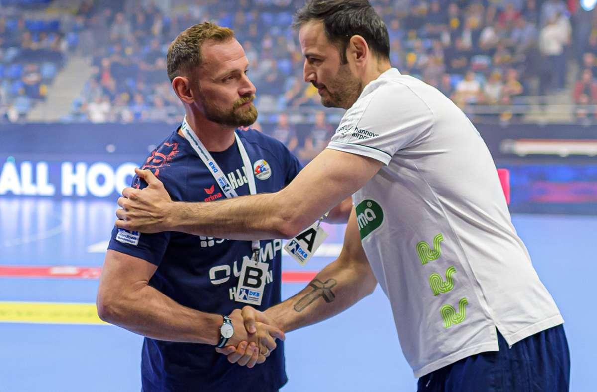 Wechsel bei der SG BBM Bietigheim: Iker Romero  (re.) löst  in der neuen Saison Hannes Jon Jonsson als Trainer ab. Foto: imago/Marco Wolf