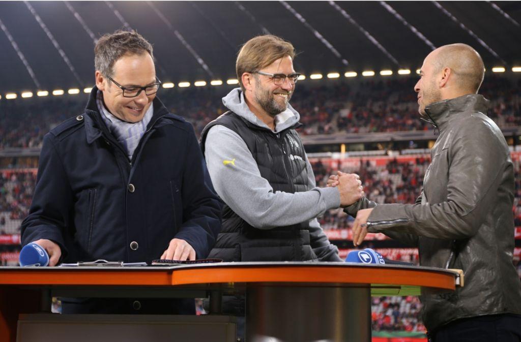 Mehmet Scholl (rechts) mit ARD-Moderator Matthias Opdenhövel (li.) und Jürgen Klopp Foto: Baumann