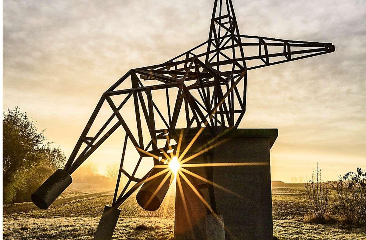 Durchaus großformatig: Der sich eine Auszeit gönnende Strommast steht seit Jahren in der Oeffinger Landschaft – und war für die Behörden kein Problem Foto: Erwin Singvogel