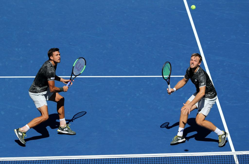 Kevin Krawietz und Andreas Mies in Aktion beim Viertelfinale der US Open. Foto: AFP