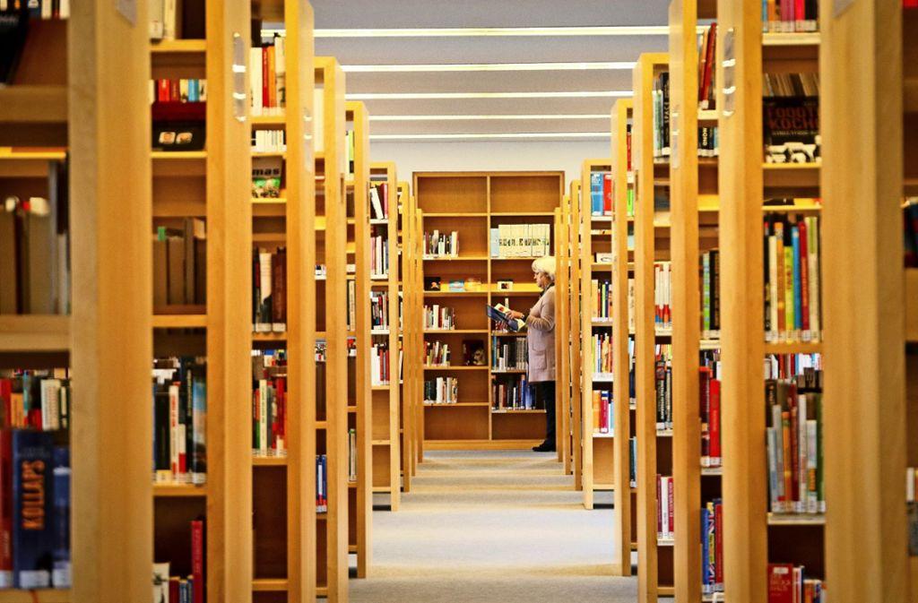 In der Bücherei in Gerlingen verbringen die Besucher zum Teil viele Stunden zwischen den Regalen. Mehr Fotos finden Sie in unserer Bildergalerie. Foto: factum/Granville