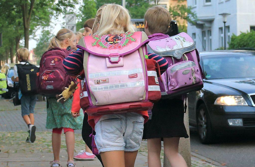 Kinder sollten zu Fuß oder mit dem Rad zur Schule kommen, findet Verkehrsminister Hermann. Foto: dpa