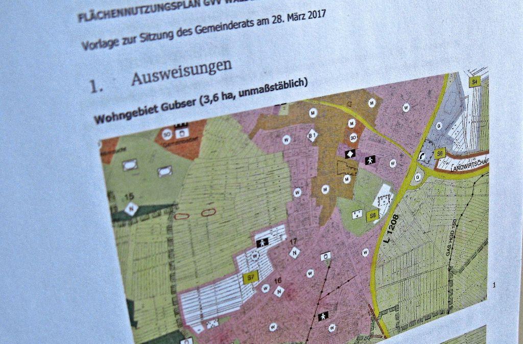 Der Plan des Wohngebiets Gubser II bekommt einen neuen Zuschnitt (weiß). Foto: Malte Klein