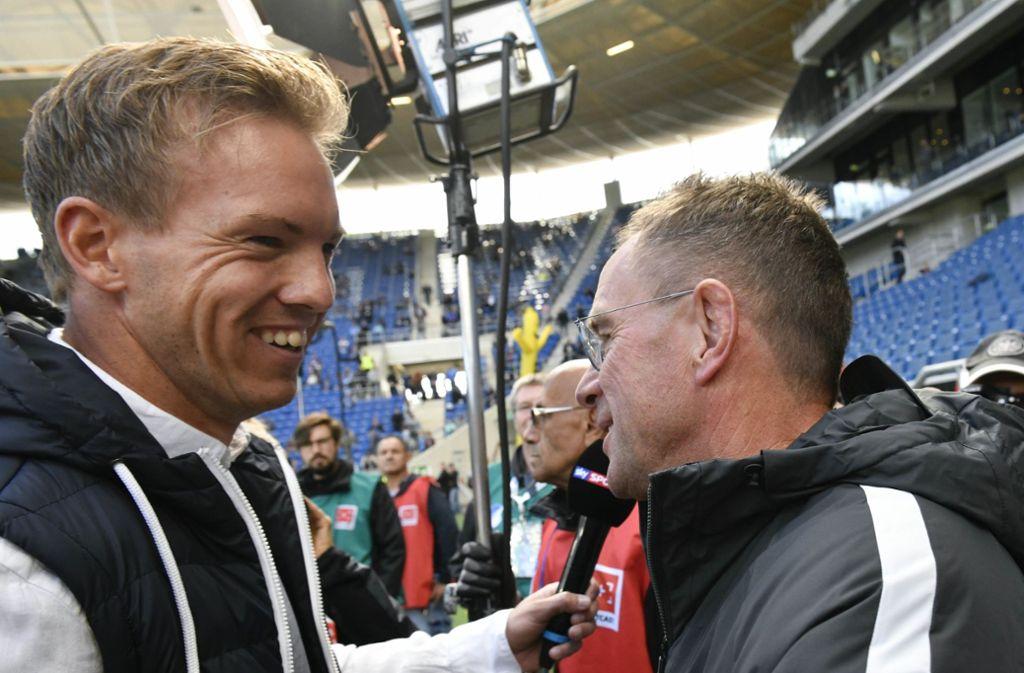 In dieser Saison noch Konkurrenten, ab Sommer gemeinsam bei RB Leipzig: Julian Nagelsmann (li.) und Ralf Rangnick Foto: dpa