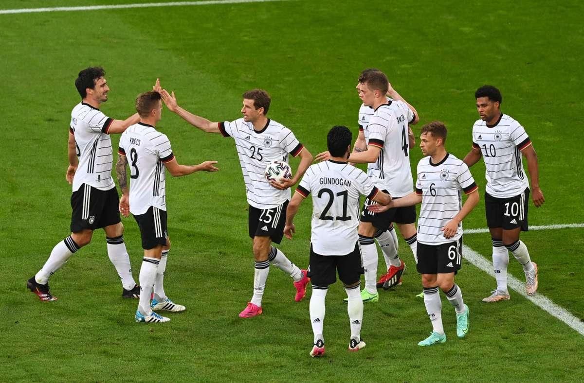 Die deutsche Nationalmannschaft im Testspiel gegen Lettland vor der EM 2021. (Archivbild) Foto: imago images/Matthias Koch/Matthias Koch via www.imago-images.de