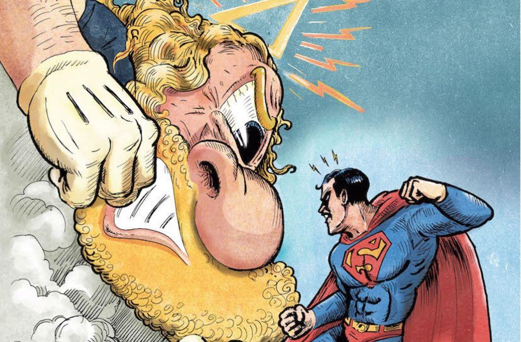Wie weit her ist es eigentlich mit Gottes Allmacht? Der Comiczeichner Winshluss setzt den Kraftmaxe Superman ein, um das zu testen. Ein Unentschieden kann es da nicht geben. Foto: Avant-Verlag