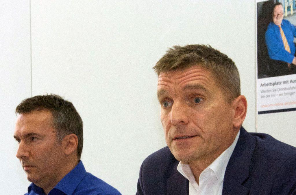 Martin van der Beek, Technischer Geschäftsführer des Unternehmens Mannheimer Rhein-Neckar Verkehr, bei einer Pressekonferenz zu den Rassismusvorwürfen. Foto: dpa