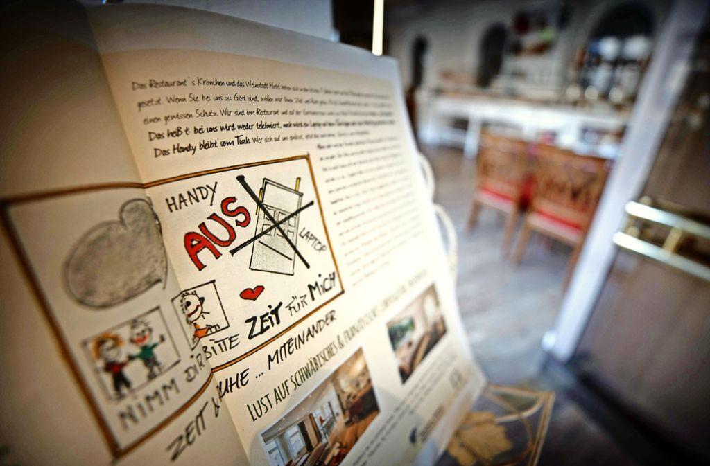 Zur Philosophie des   Weinstadt-Hotels in Beutelsbach gehört die digitale Enthaltsamkeit  in manchen Bereichen Foto: Gottfried Stoppel