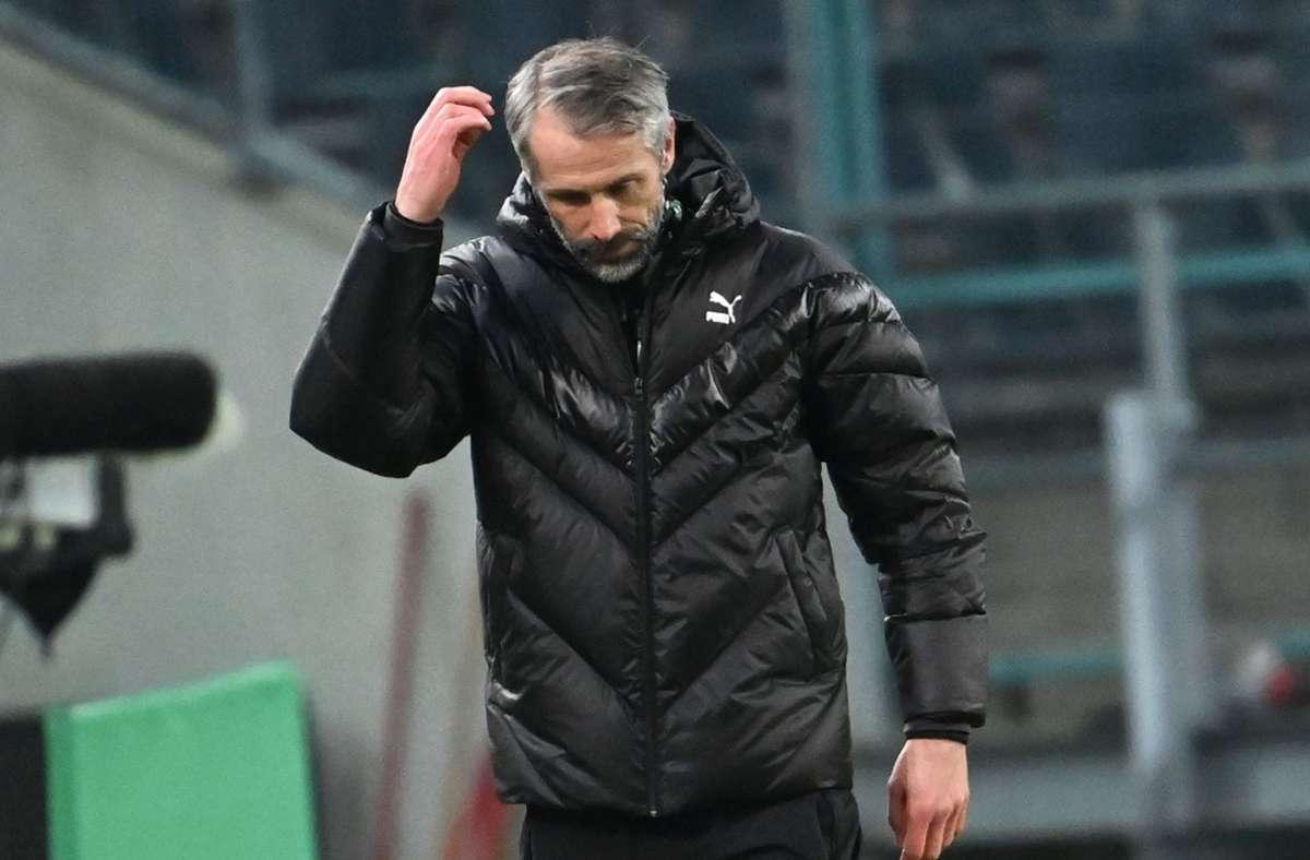 Marco Rose ist mit Borussia Mönchengladbach im Pokal ausgeschieden. Foto: dpa/Federico Gambarini