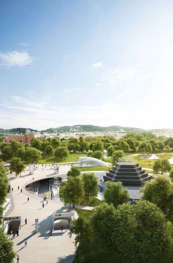 So sieht der heutige Baustellenbereich in der Vorstellung der Planer nach Abschluss der Arbeiten aus. Foto: Ingenhoven Architekten