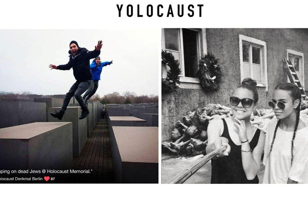 Auf seiner Seite www.yolocaust.de prangert der Künstler Shahak Shapira unbedachte Selfies am Holocaust-Mahnmal an und hat damit eine Debatte im Netz ausgelöst. Foto: yolocast.de/shapria/Screenshot