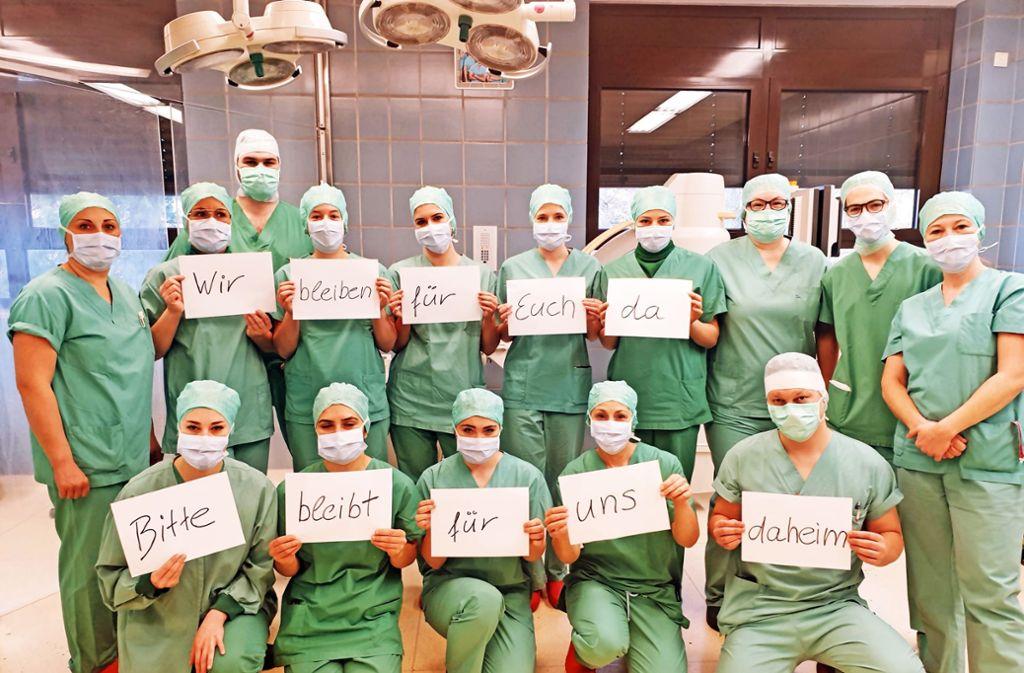 Große Solidarität in den Krankenhäusern, im Bild das OP-Team der Kliniken Sindelfingen Foto: Klinikverbund Südwest