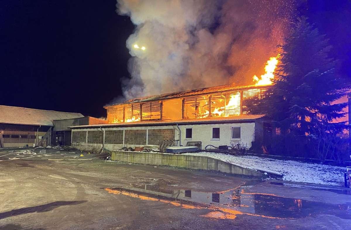 Da in der Scheune Strohballen gelagert wurden, breitete sich das Feuer am frühen Sonntagmorgen so schnell aus, ...  Foto: SDMG