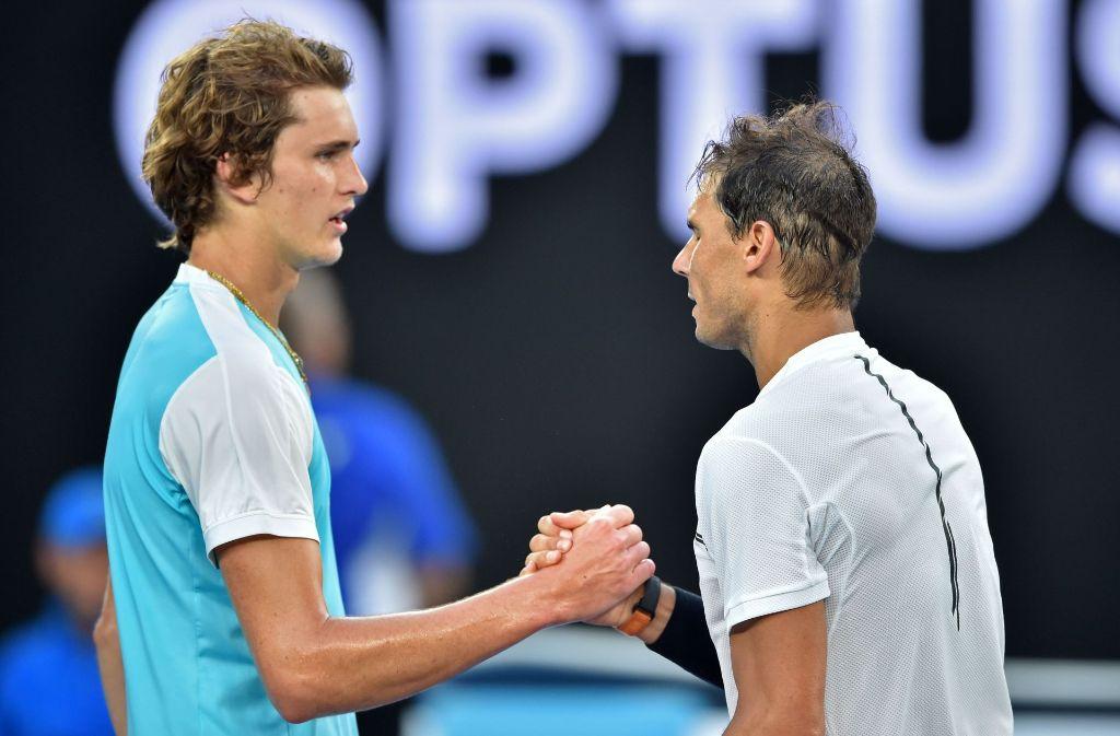 Alexander Zverev (links) musste sich Rafael Nadal geschlagen geben. Foto: AFP