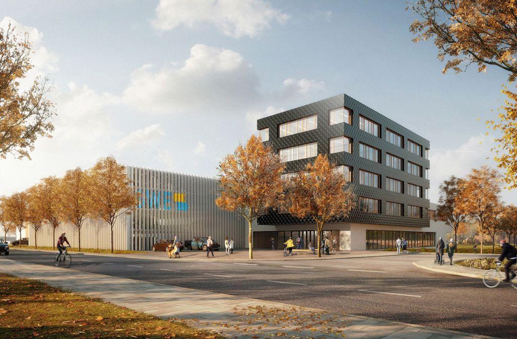 So wird der Neubau der Esslinger Stadtwerke in den Neckarwiesen aussehen. Foto: moka-studio