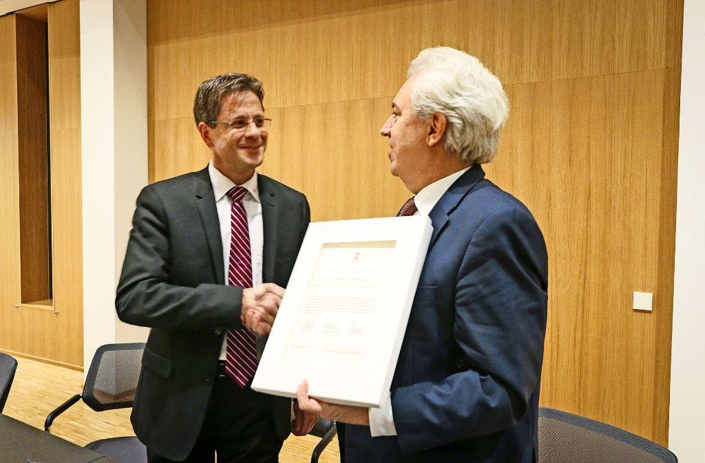 OB Schuler (re.) mit Wolff & Müller-Geschäftsführer Steffen Schönfeld. Foto: factum/Granville