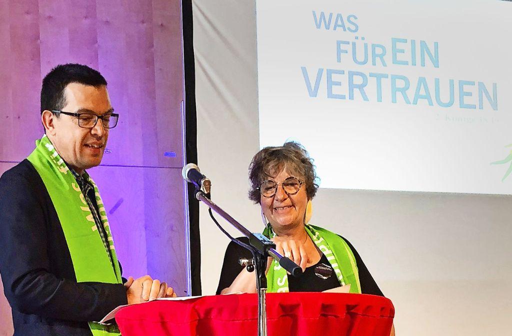 Prälatin Gabriele Arnold beim Kirchentag mit Moderator Martin Franke. Foto: Martin Haar