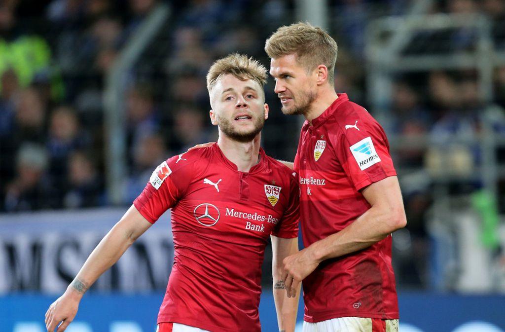 Die beiden entscheidenden Akteure beim letzten VfB-Spiel in Bielefeld. Alexandru Maxim (links) und Simon Terodde (2) erzielten die Tore beim 3:2-Sieg des VfB. Foto: Pressefoto Baumann/Julia Rahn