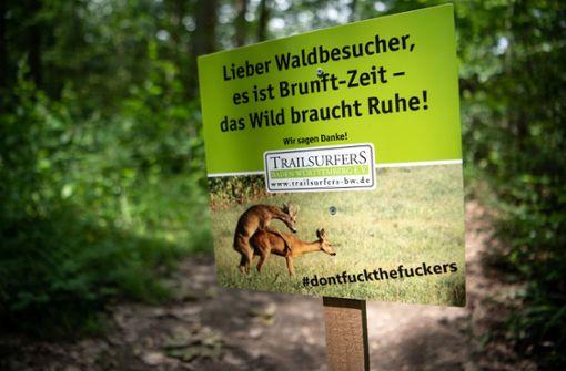 Sex-Plakat soll Tiere vor Mountainbikern schützen