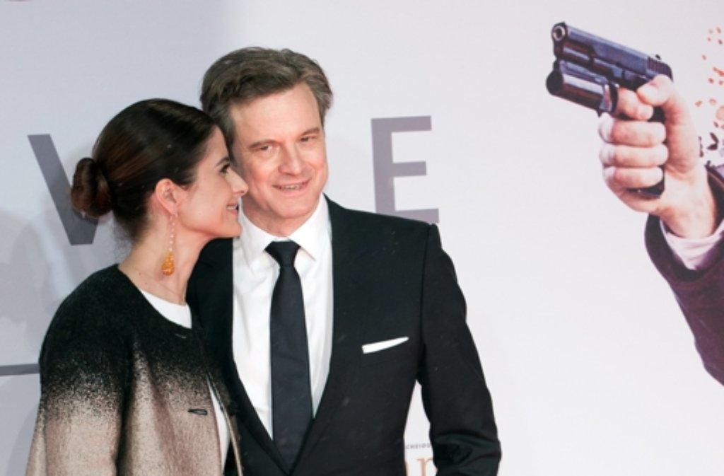 Colin Firth und seine Frau Livia bei der Kingsman-Premiere in Berlin. Foto: dpa