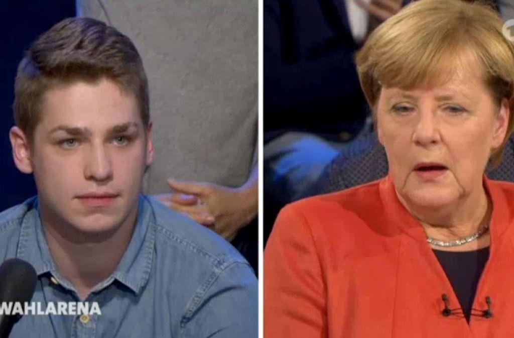 Der 21-jährige Pflege-Azubi Alexander Jorde (links) kritisiert Kanzlerin Angela Merkel in der ARD-Wahlarena wegen ihrer, wie er meint, jahrelangen Tatenlosigkeit in seinem Berufsbereich. Foto: WDR