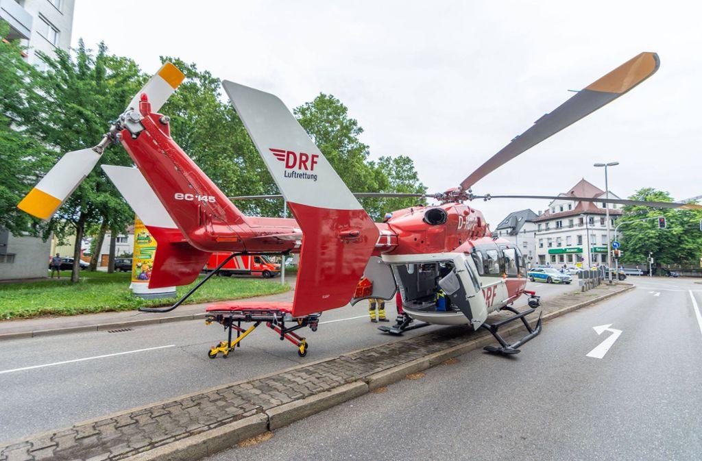 Der Mann wurde nach  dem Unfall mit einem Rettungshubschrauber in eine Klinik gebracht, wo er später verstarb. Foto: 7aktuell.de/Moritz Bassermann