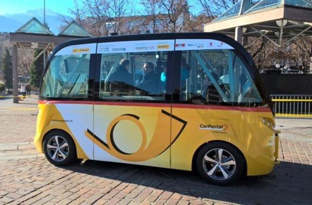 Zwei Navya-Busse sollen bald in der Fußgängerzone von Sion (Schweiz) den Betrieb aufnehmen. Foto: Navya