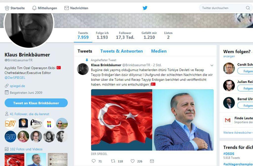 Diese Nachricht haben die Hacker auf Twitter verbreitet. Foto: dpa