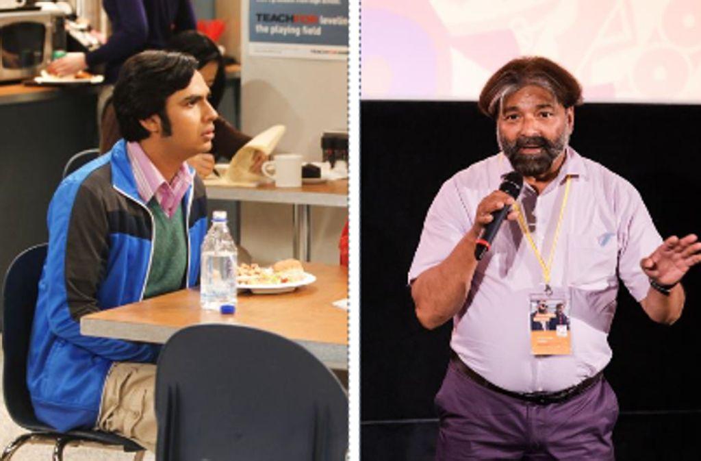 Raj, gespielt vom britischen Schauspieler Kunal Nayyar (links), ist der Junggeselle aus der Astrophysik.  Rajvinder Singh gibt ihm seine deutsche Stimme. Foto: Warner Bros/