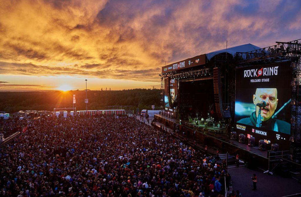 """2020 feiern die Musikspektakel """"Rock am Ring"""" und """"Rock im Park"""" Jubiläum. (Archivbild) Foto: Thomas Frey/dpa/Thomas Frey"""