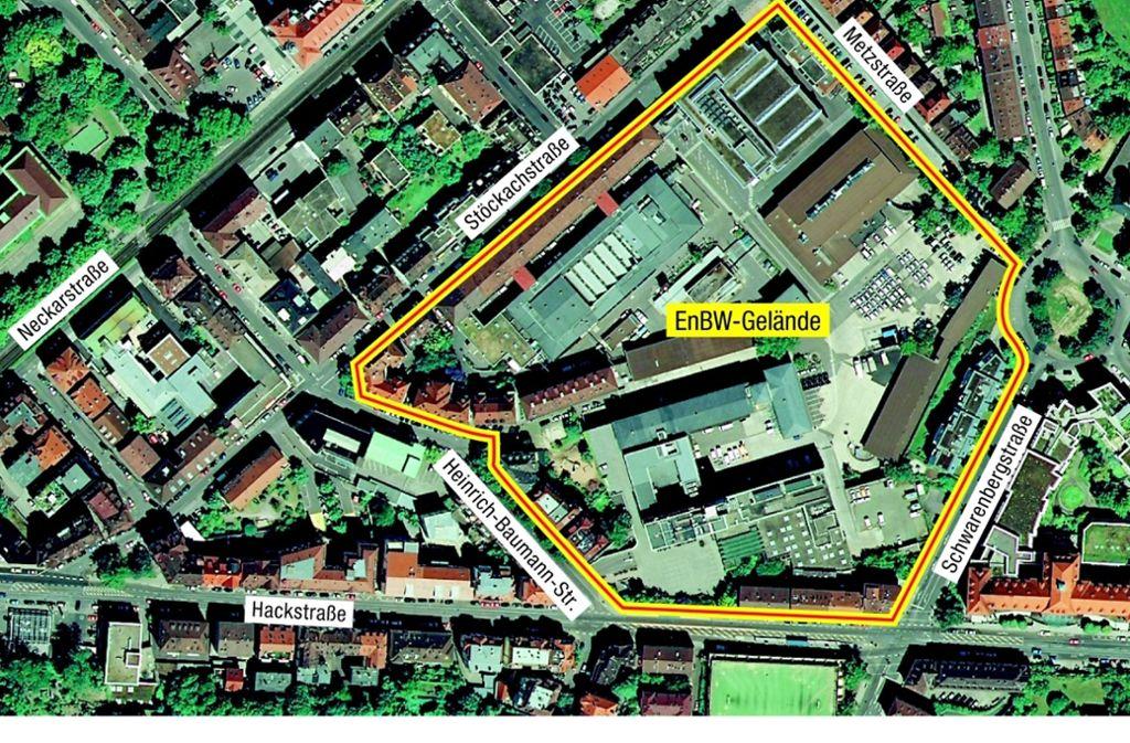 Auf dem EnBW-Gelände im Stuttgarter Osten wird viel Platz frei für den Wohnungsbau. Es reicht von der Stöckach- und der Metzstraße bis zur Hackstraße. Foto: Stadtmessungsamt/Bearbeitung: Yann Lange