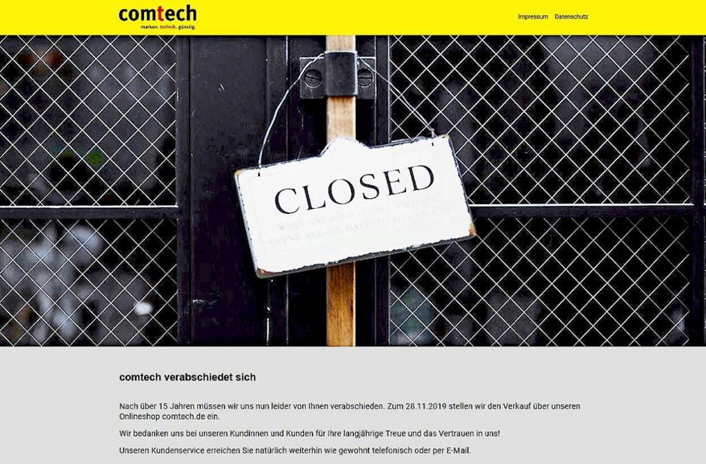 Der Verkauf auf der  Comtech-Internetseite ist eingestellt worden. Foto: Bildschirmprint