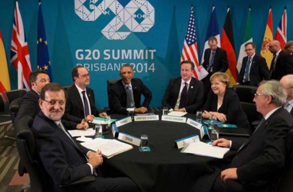Staats- und Regierungschefs der 20 mächtigsten Volkswirtschaften beim G20-Gipfel in Brisbane. Foto: dpa