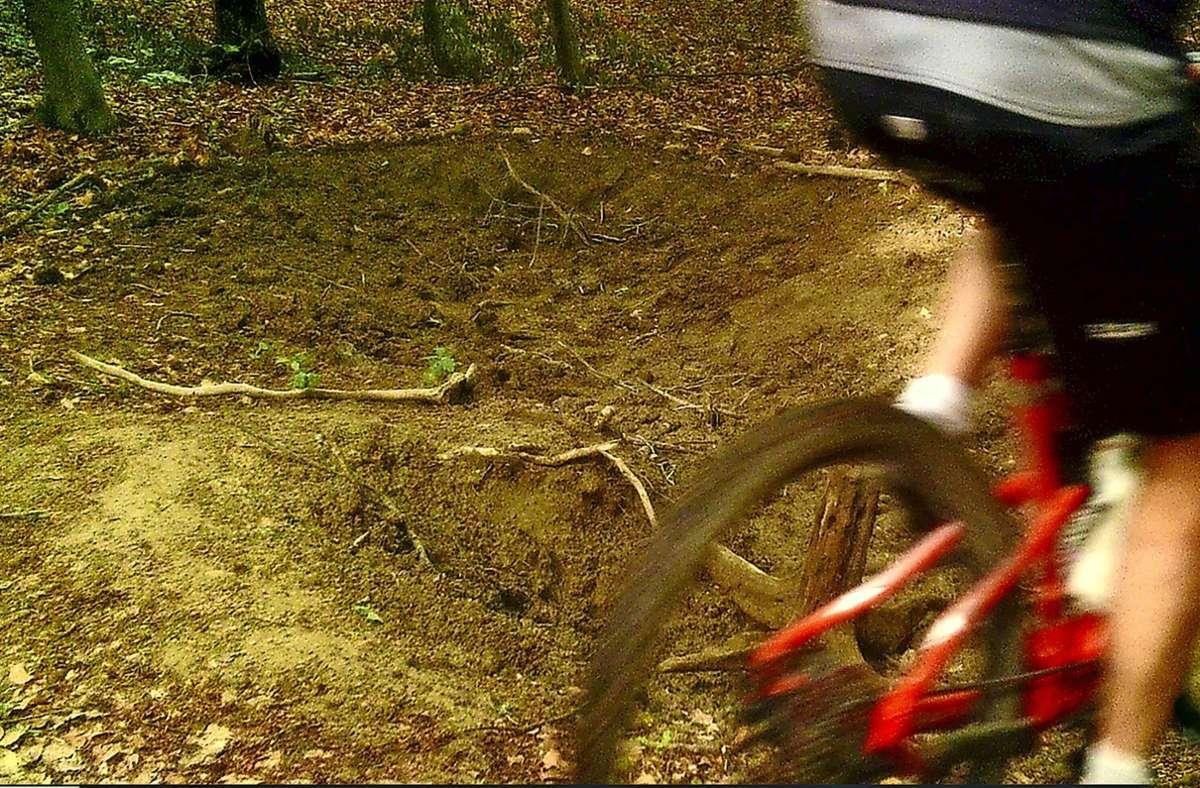 Diese Foto wurde mit einer Wildkamera aufgezeichnet: Im Unterholz ist ein Mountainbiker unterwegs. Foto: privat