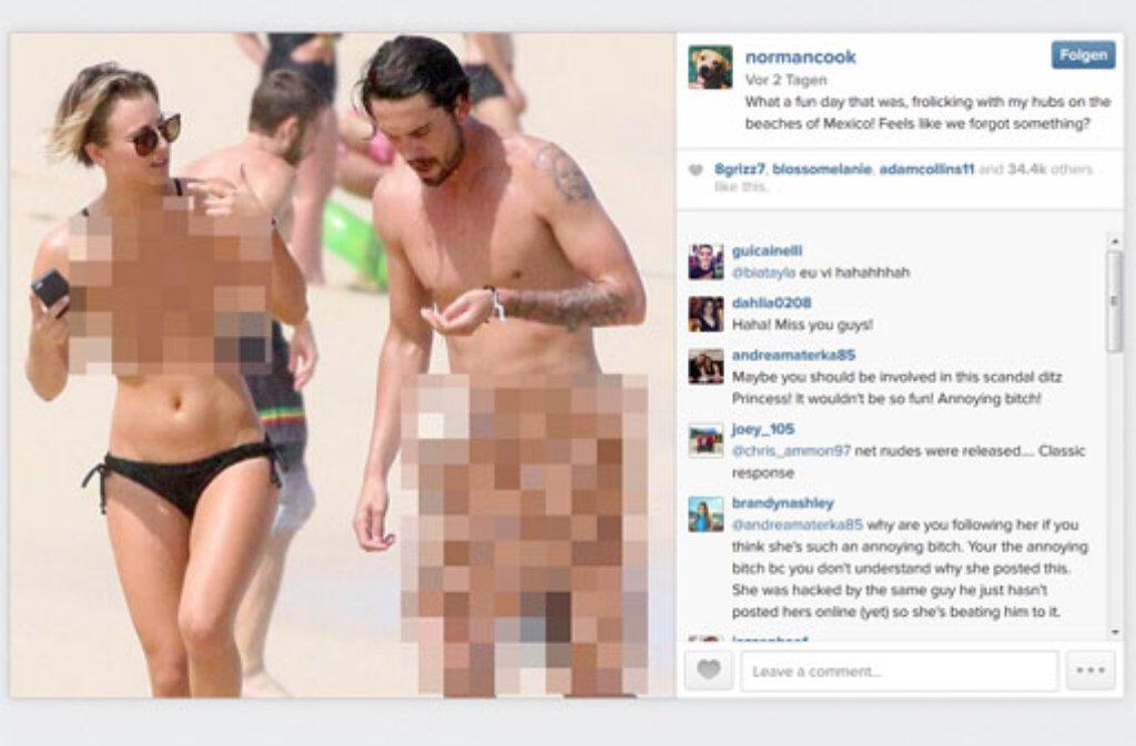 Kaley Cuoco beweist Humor: Sie postet ein Nacktbild von sich und ihrem Ehemann - auf der Instagramseite ihres Hundes. Wer sonst noch vom dem Skandal betroffen ist... Foto: http://instagram.com/normancook
