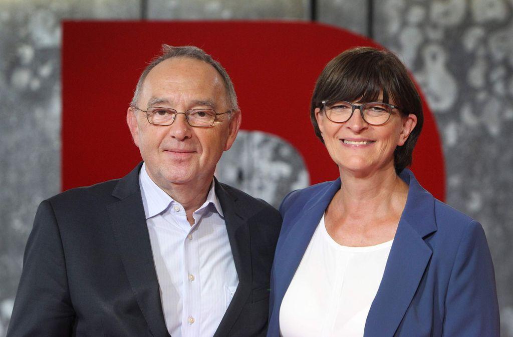 Norbert Walter-Borjans und Saskia Esken sollen die neue SPD-Führung werden. Foto: AFP/DANIEL ROLAND