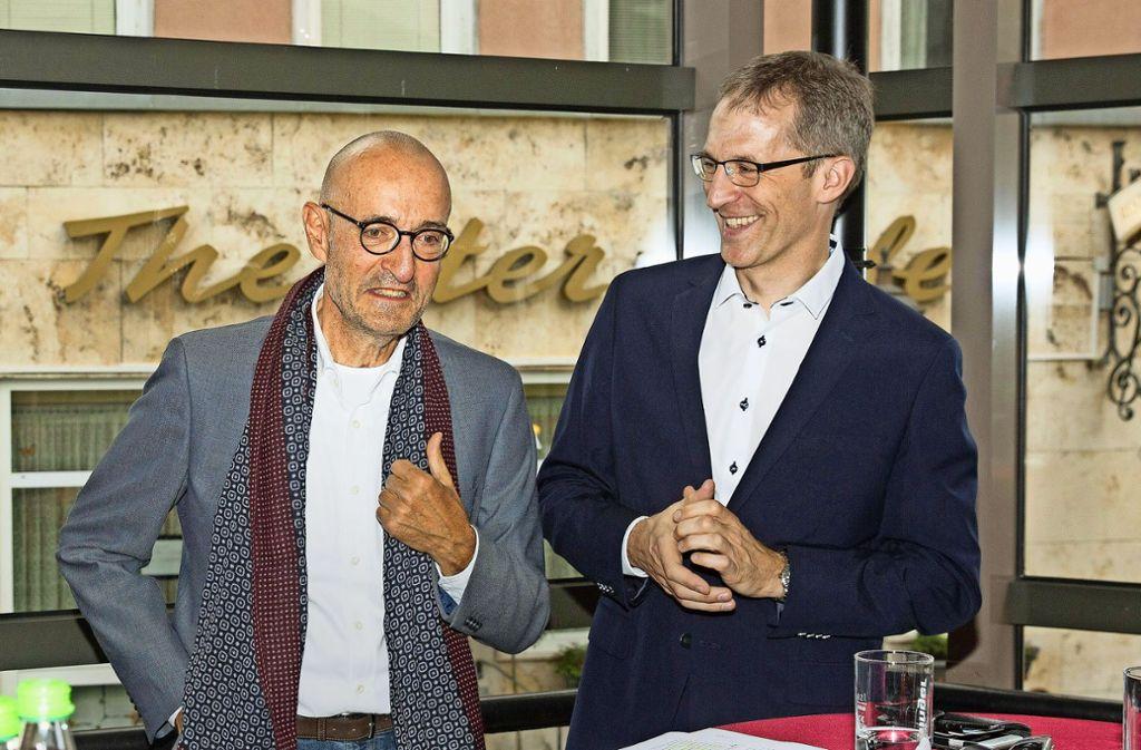 Das neue Führungsduo an der Württembergischen Landesbühne: der 67-jährige Friedrich Schirmer und der 45-jährige Marcus Grube Foto: Horst Rudel