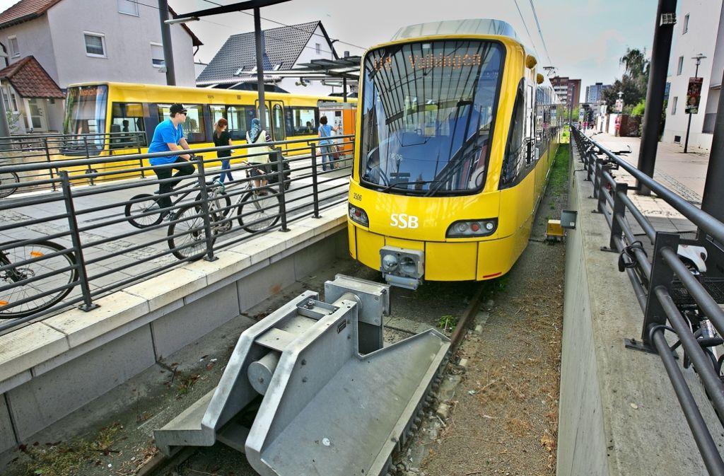 Nicht nur dieser Prellbock   stoppt die Weiterfahrt der Stadtbahn von  Ostfildern-Nellingen nach Esslingen. Foto: Horst Rudel/Archiv