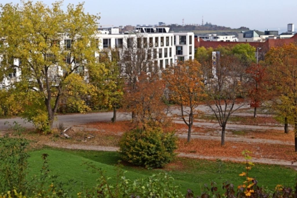 Gegenüber der Killesberghöhe, wo heute noch leuchtendes Herbstlaub in Orange und Rot liegt, sollen 2016 fünf Container für Flüchtlinge stehen. Foto: Fritzsche