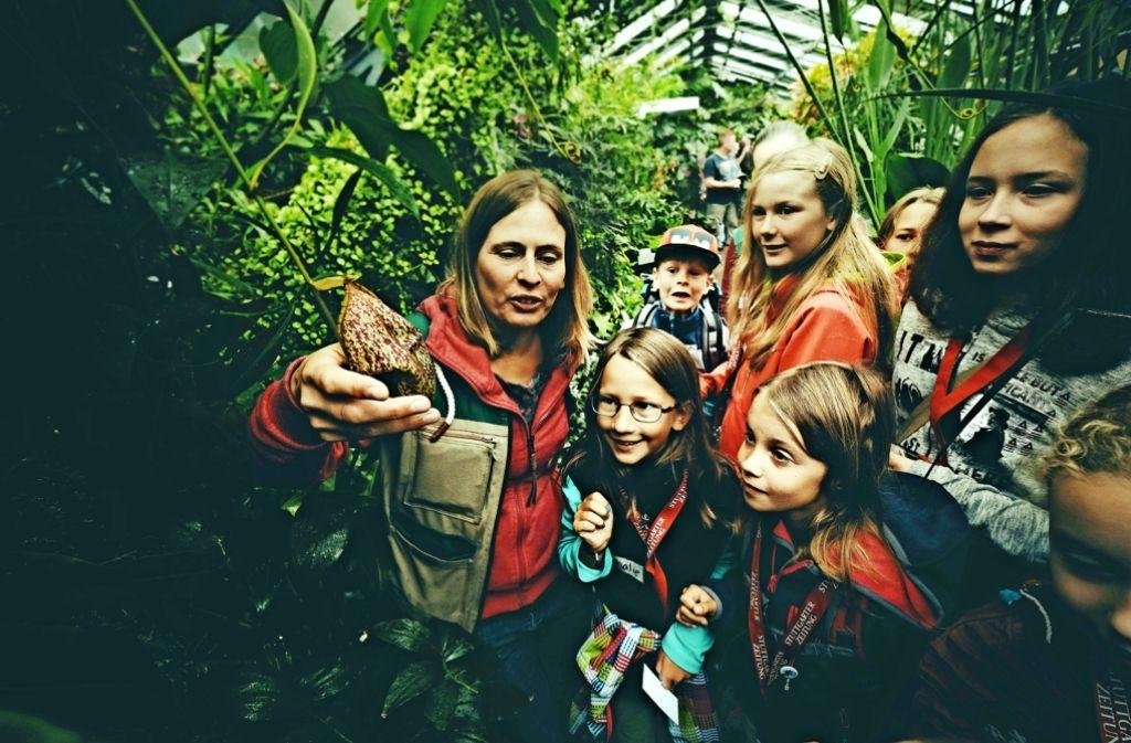 Stefanie Reska erklärt den Kindern, wie die Kannenpflanze Insekten fängt. Foto: