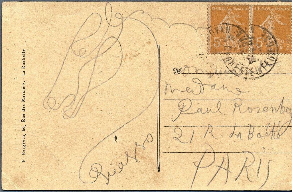 Eine Pferdezeichnung, die in der Unterschrift Picassos endet: So sieht die Postkarte aus. Weitere spektakuläre Versteigerungen des Auktionshauses finden Sie in unserer Bildergalerie. Foto: privat