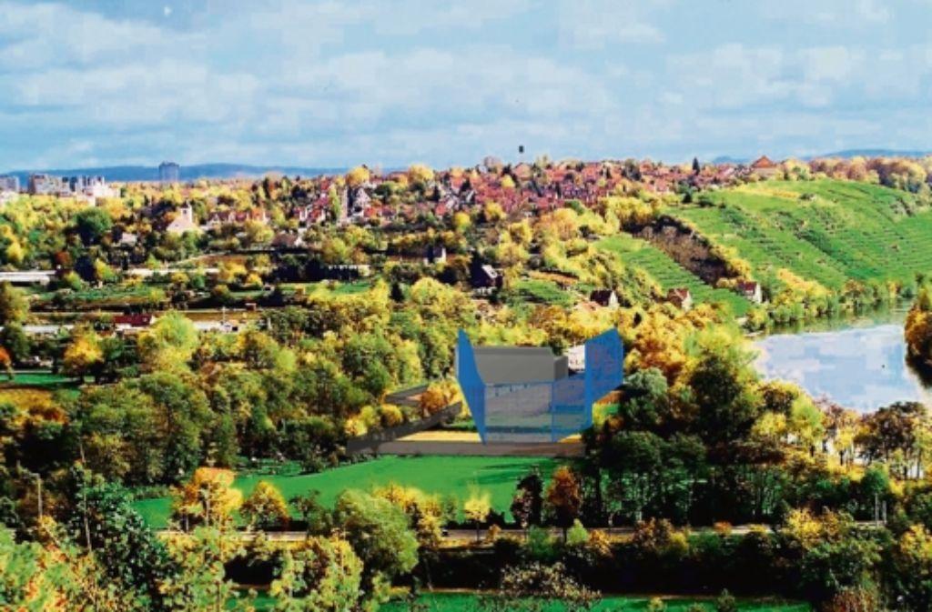 Der Stein des Anstoßes: die Animation der Bauverwaltung zeigt einen blauen Käfig. Das Bild ist nicht aktuell, es stammt aus dem Jahr 2004. Foto: Stadt Stuttgart