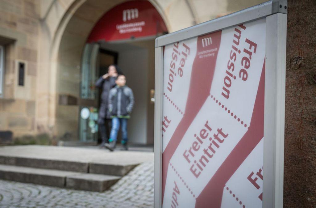 Der freie Eintritt muss auch gut beworben werden – wie im Württembergischen Landesmuseum, das im Alten Schloss in Stuttgart untergebracht ist. Foto: Lichtgut/Julian Rettig