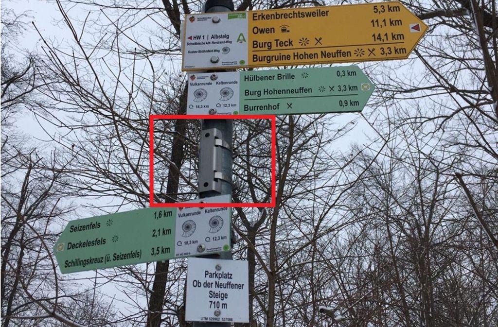 Auch am Parkplatz Ob der Neuffener Steige haben die Diebe zugeschlagen. Foto: Schwäbischer Albverein