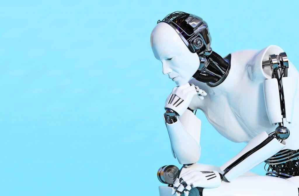 Roboter in Denkerpose: Die künstliche Intelligenz von Maschinen spielt auch für das Arbeitsleben eine immer größere Rolle – und gefährdet immer mehr Jobs. Foto: fotolia