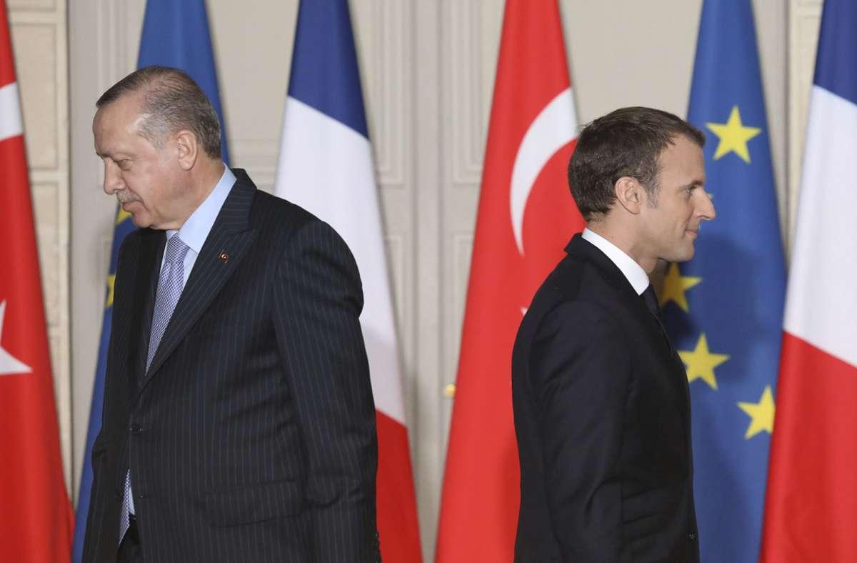Dicke Luft zwischen dem türkischen Präsidenten Recep Tayyip Erdogan (links) und Frankreichs Präsident Emmanuel Macron (Archivbild). Foto: dpa/Ludovic Marin
