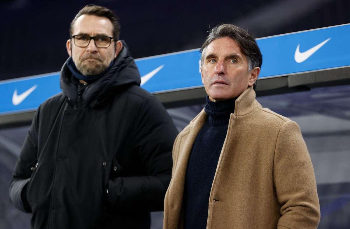 Hertha BSC und Manager Michael Preetz (l.)  sowie   Trainer Bruno Labbadia gehen künftig getrennte Wege. (Archivbild) Foto: dpa/Odd Andersen