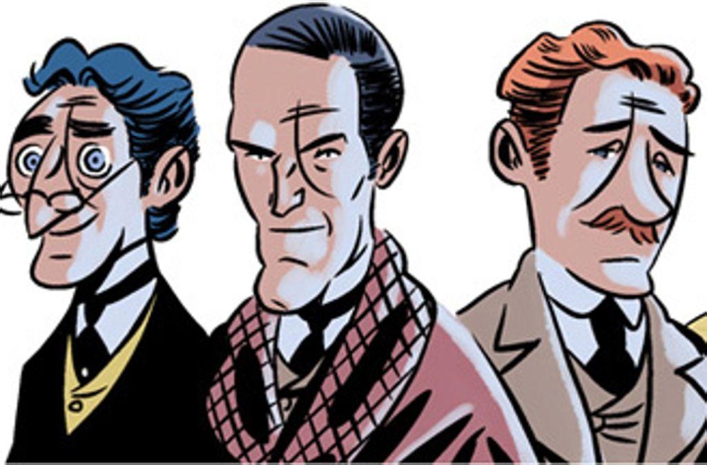 Viktorianer sehen Dich an: auch der Uneingeweihte dürfte anhand des bohrenden Blicks und des arroganten Selbstbewusstseins ahnen, dass der mittlere dieser Herren Sherlock Holmes ist. Foto: Selfmade Hero
