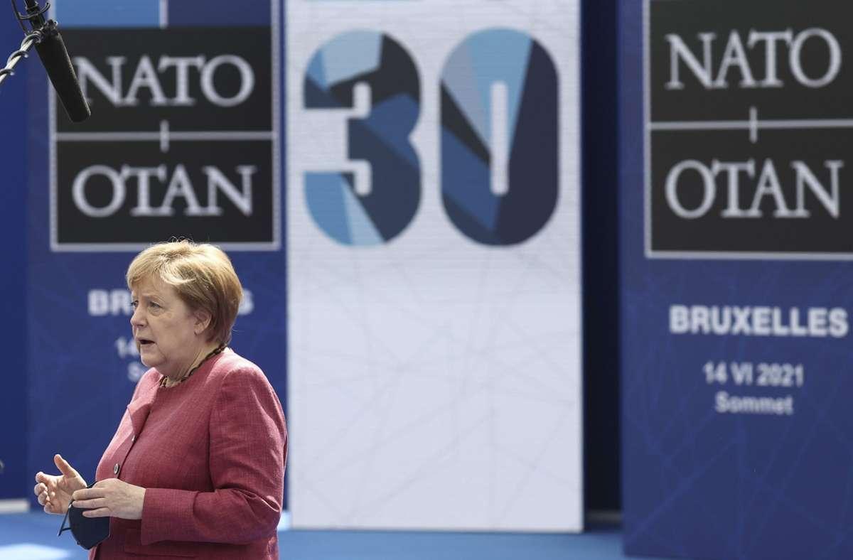 Merkel beim Nato-Gipfel in Brüssel Foto: dpa/Kenzo Tribouillard